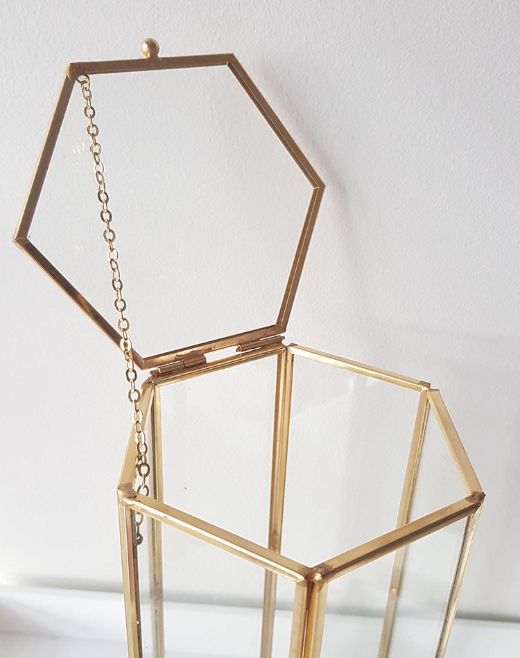 Gold geometric terrarium/ring boxes (Tall Hexagon Box)-Geometric Terrarium-1stAvenue