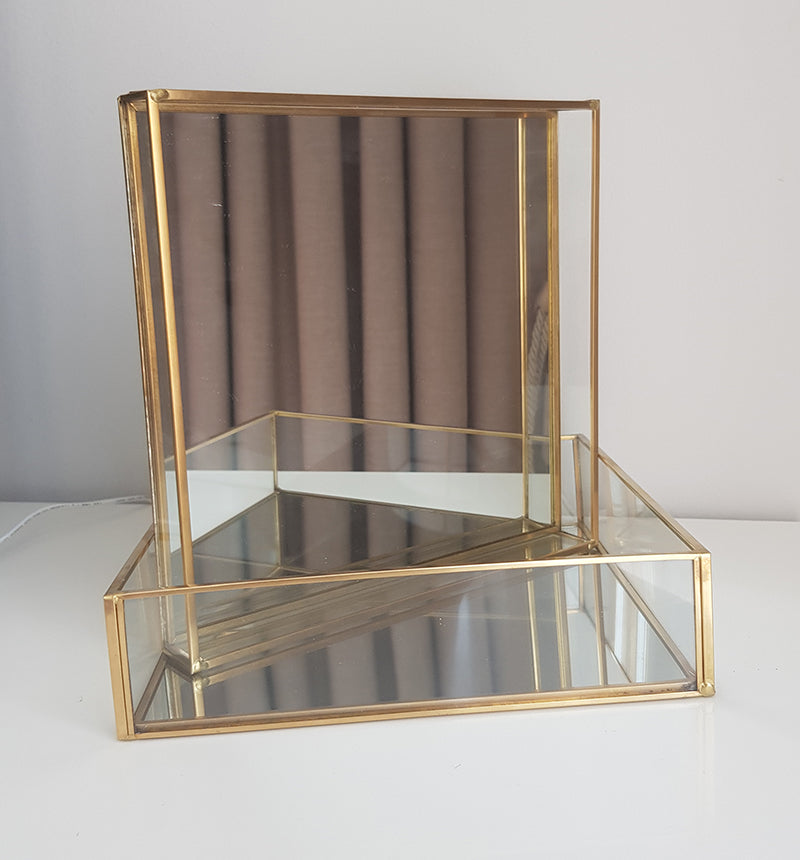 Gold geometric terrarium/ring boxes (Square Tray)-Geometric Terrarium-1stAvenue