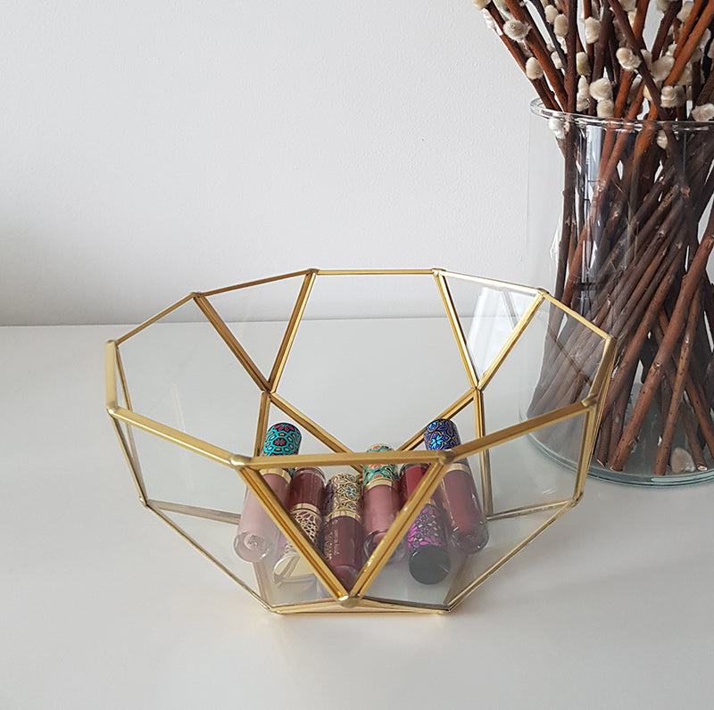 Gold geometric terrarium/ring boxes (Bowl)-Geometric Terrarium-1stAvenue