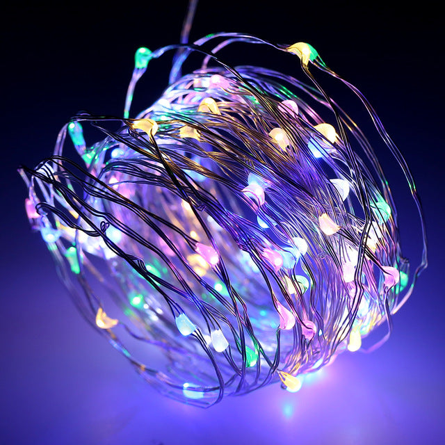 10m USB Silver RGB Silver wire LED string lights Rainbow Christmas fairy lights wedding decorations - 1stAvenue