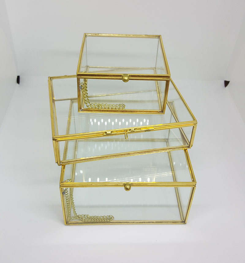 Gold geometric terrarium/ring boxes (Square Box)-Geometric Terrarium-1stAvenue
