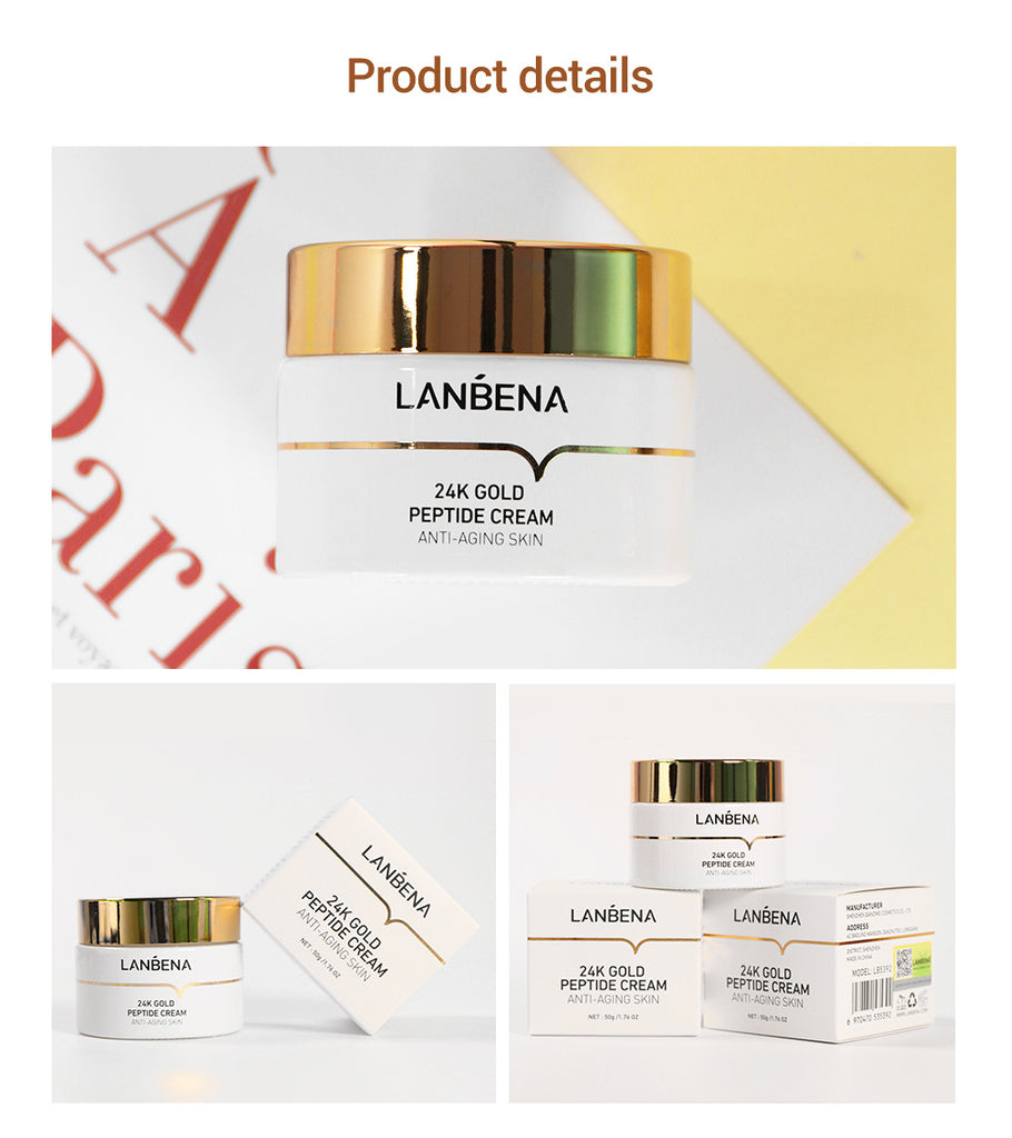 LANBENA 24K Gold Six Peptide Anti-wrinkle Face Cream Hyaluronic Acid Moisturizing Anti-Aging Nourish Lifting Firming Skin Care-Beauty Product-1stAvenue