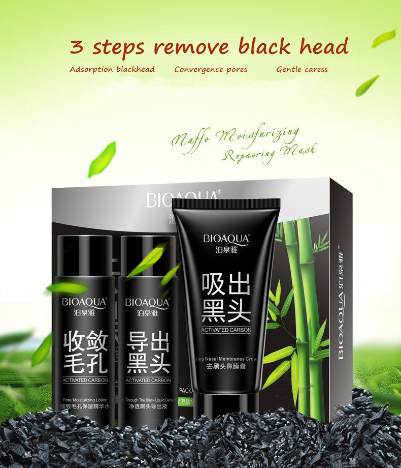 Buy 1 Get 1 FREE!!! BIOAQUA 3pcs Black Mask Nose Face Skin Care Set Remover Black Head Acne Treatment-Blackhead-1stAvenue