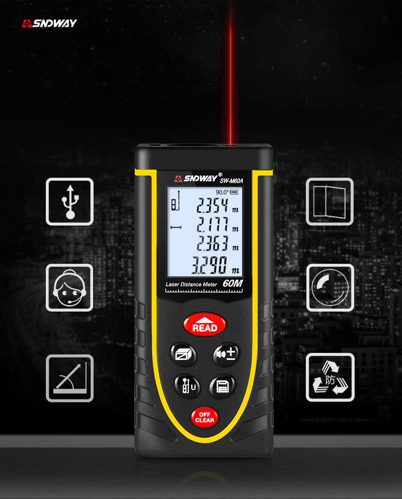 SNDWAY 60m 1.5mm accuracy Laser Distance Meter Digital Electronic Handheld Rangefinder Laser measure - 1stAvenue