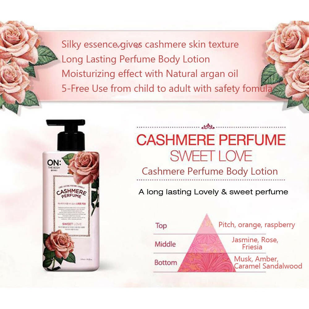 ON THE BODY Body Lotion (3 Type) 400ml Cashmere Perfume Sweet Love Happy Breeze Shining Dream-Body Wash-1stAvenue