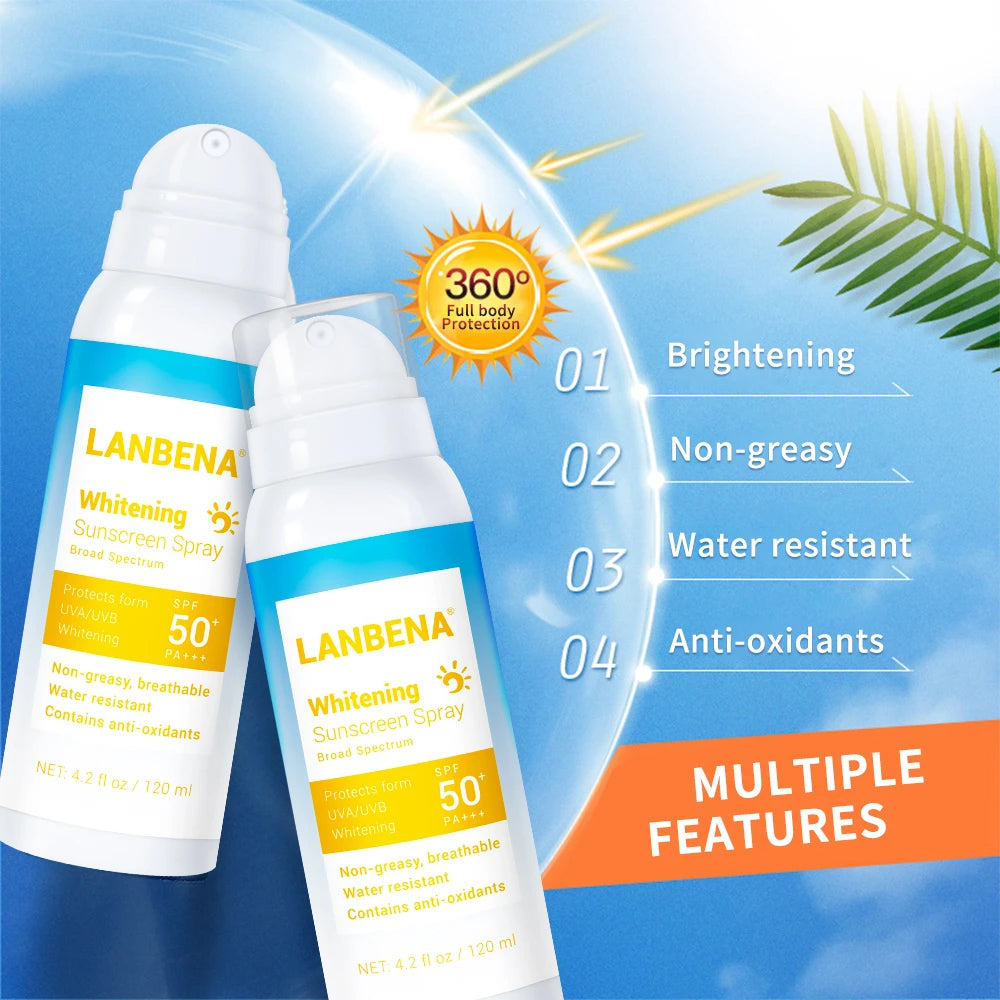 Lanbena Sunscreen Spray Skin Whitening Spray Face Body Sunblock Spf 50 Sun Block Water-Resistant Brightening Breathable Suncream-Beauty Product-1stAvenue