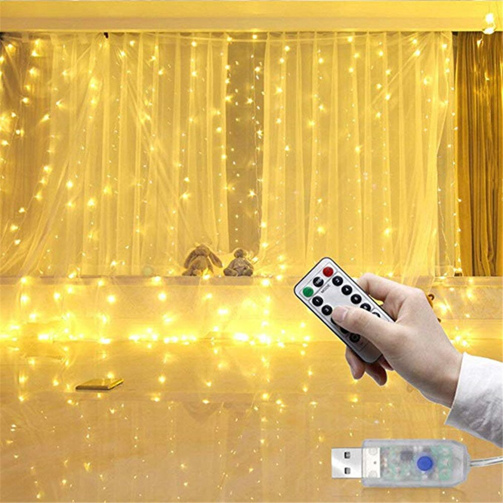 3m x 3m USB Warm White Curtain Fairy Lights 300 Led String Lights with remote Controller-Fairy Lights-1stAvenue