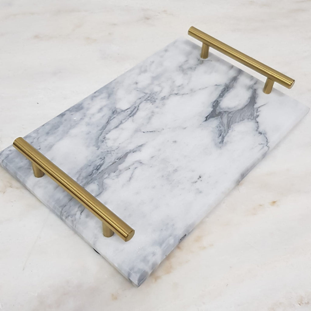 Nordic Style Gold-Plated Handle Ceramic Marble Tray Storage Tray Storage Board Cake Dessert Plate-Marble Collection-1stAvenue
