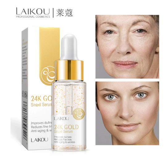 LAIKOU Reduces Fine Lines Face Liquid Serum 24K Gold Snail Serum Anti-aging & Wrinkles Moisturizer Whitening Skin Care Beauty-Laikou-1stAvenue