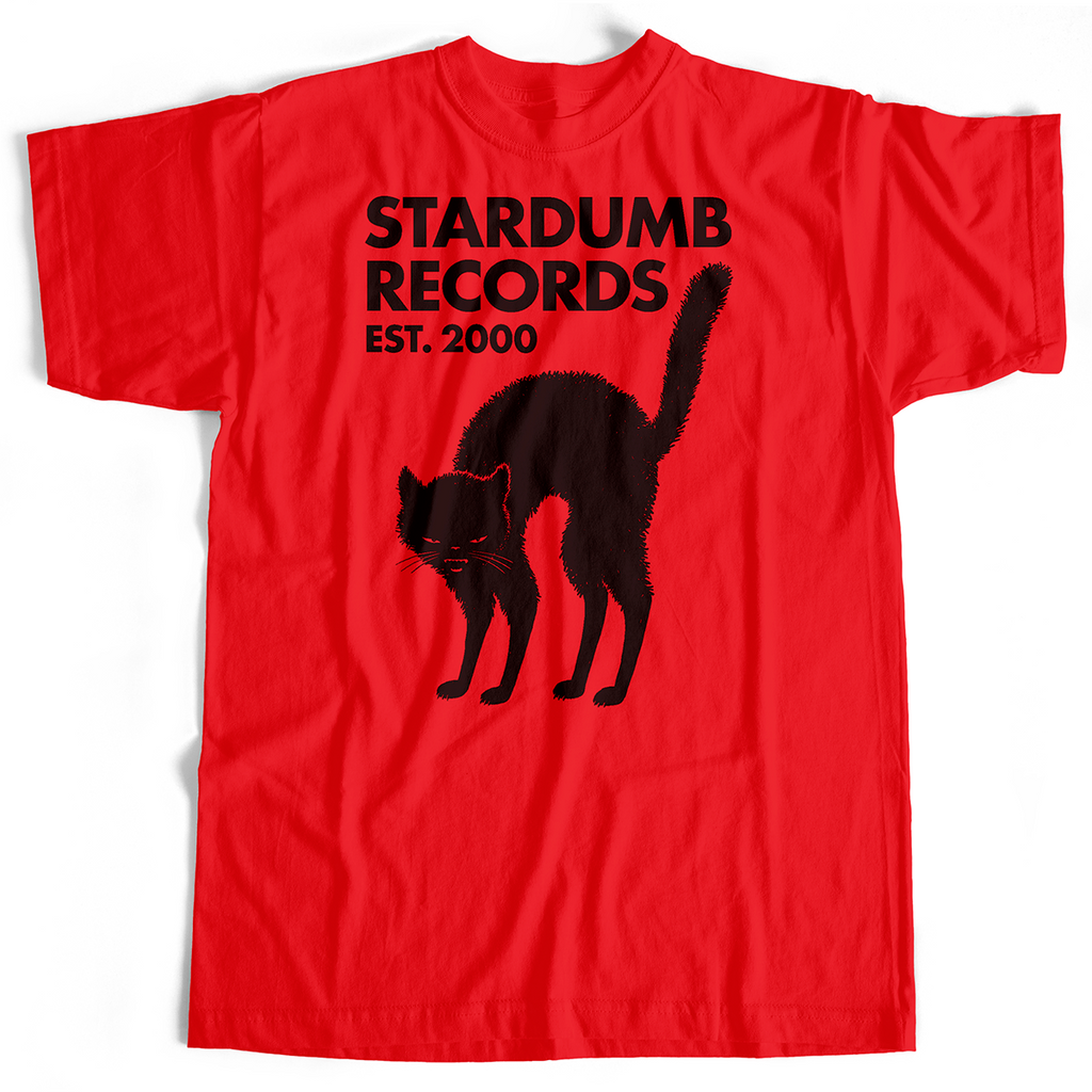 Stardumb Records - Black Cat (Red T-Shirt, S, M & L only)