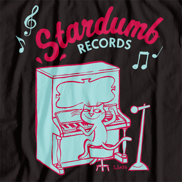 Stardumb Records - Piano Cat by S.Britt (T-Shirt, Large and Ladies L only)