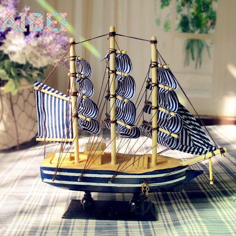Blue Wooden Sailing Boat™