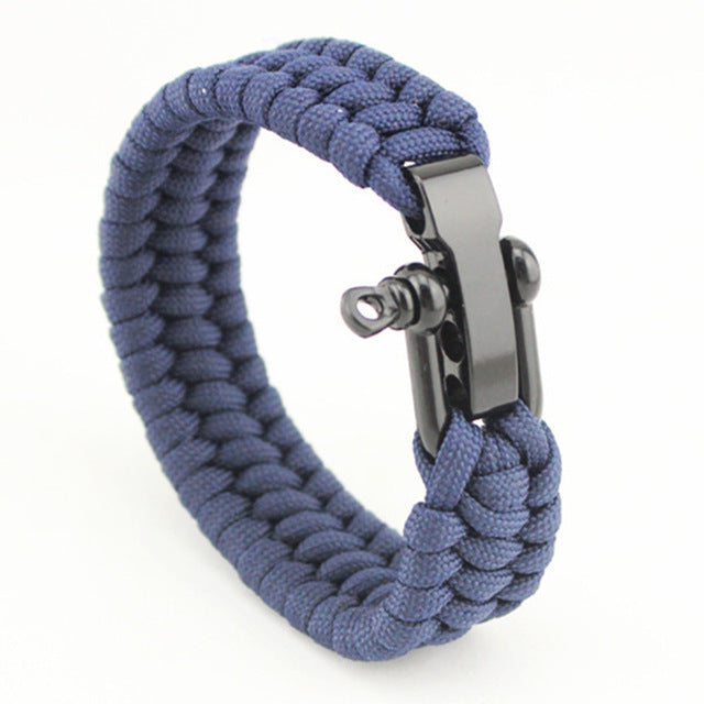 Jet Black Seaman's Shackle - Blue