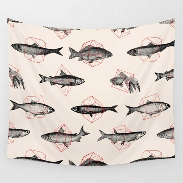 Geometric Fishes Wall Tapestry