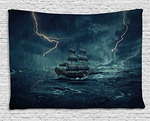 Lightning Storm Ship Wall Tapestry