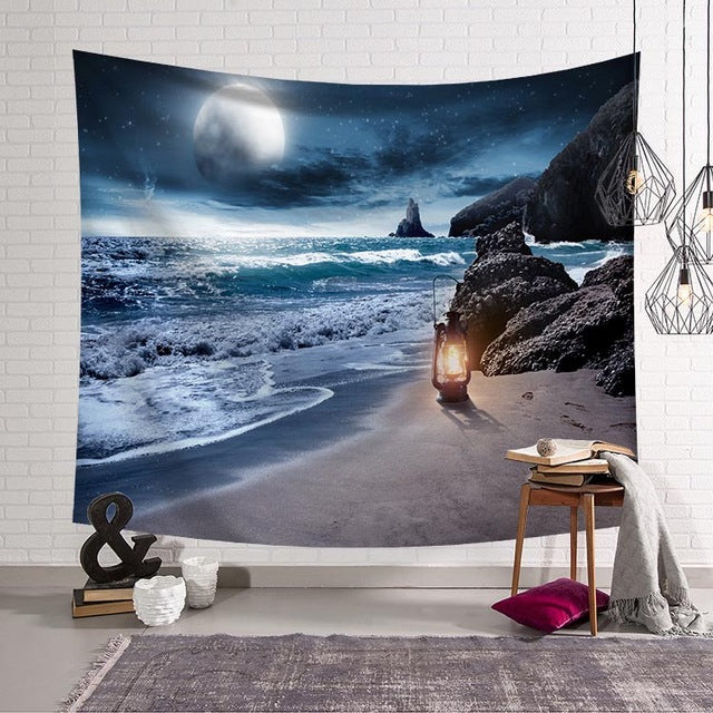 Moon Beach Natural Scenery Tapestry