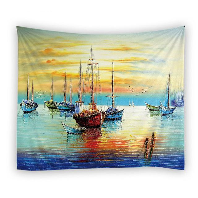 Parking Boats Tapestry