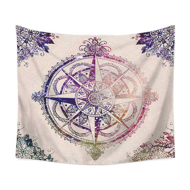 Flower Compass Wall Tapestry