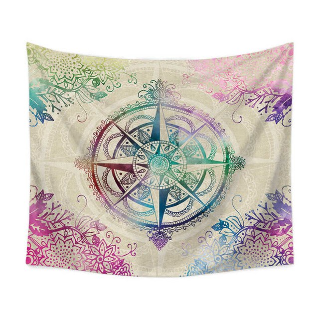 Colorful Mix Compass Wall Tapestry