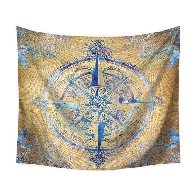 Explorer Compass Floral Wall Tapestry