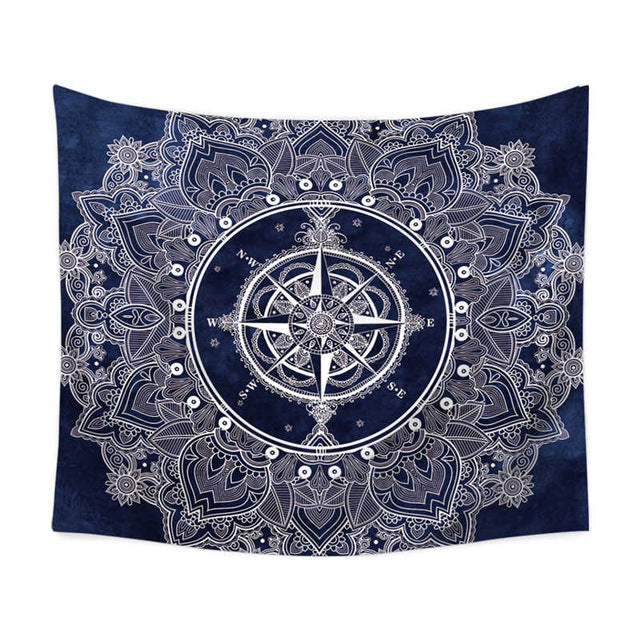 Explorer Flower Compass Wall Tapestry