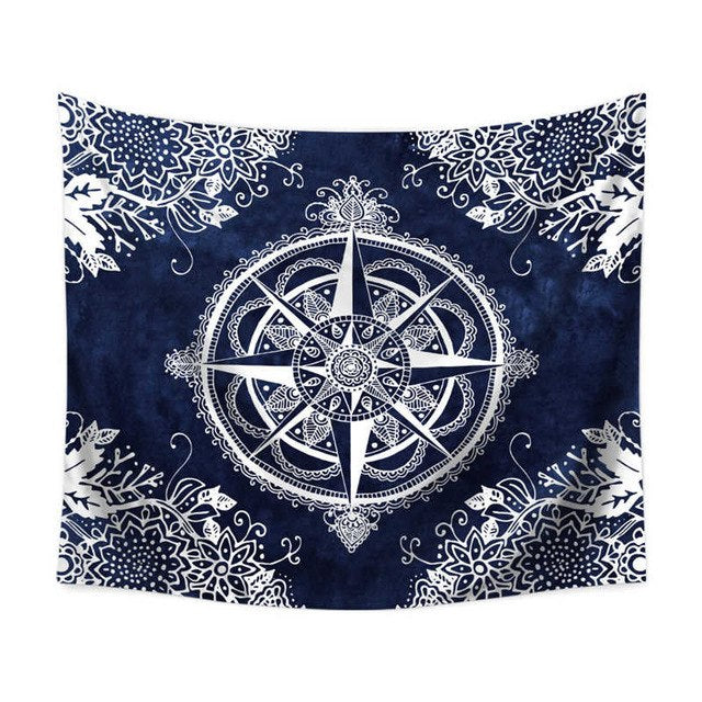 Starry Compass Floral Wall Tapestry