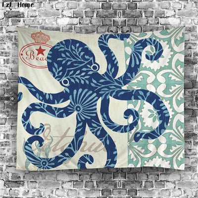 Blue Octopus Tapestry
