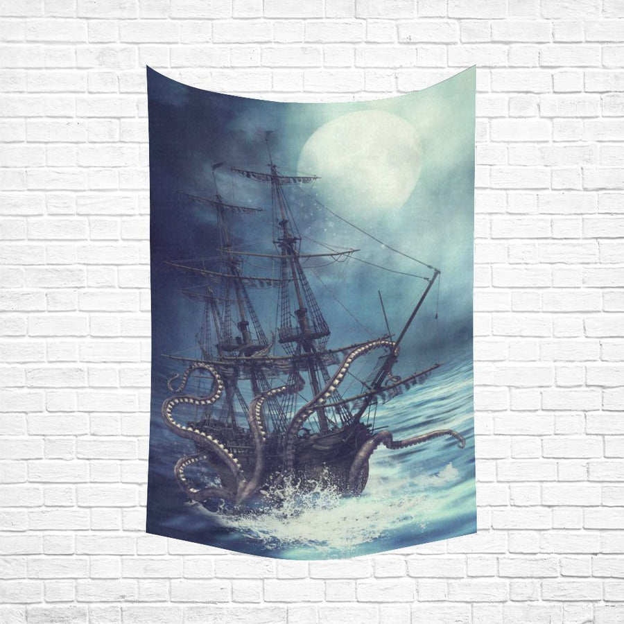 Monster Octopus Ship Wall Tapestry