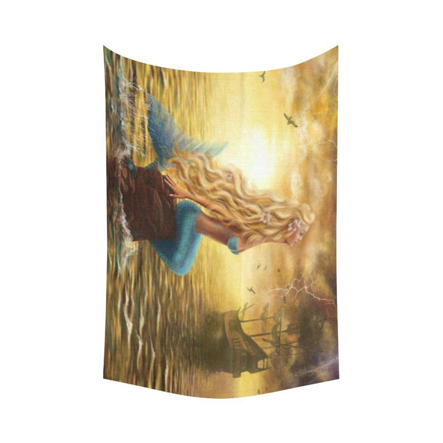 Ocean Mermaid Ship Wall Tapestry