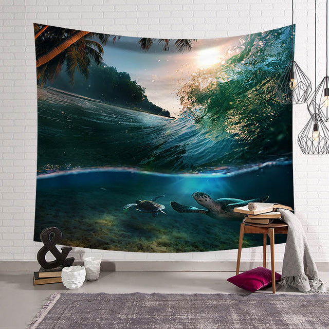Ocean Turtle Wave Wall Tapestry