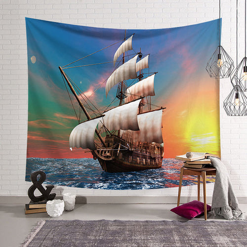 Sunset Pirate Ship Wall Tapestry