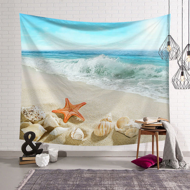 Ocean Beach Shells Wall Tapestry
