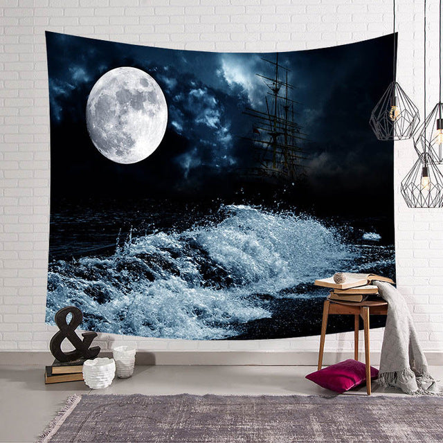 Moon Night Wave Wall Tapestry