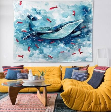 Whale & Red Fishes Tapestry