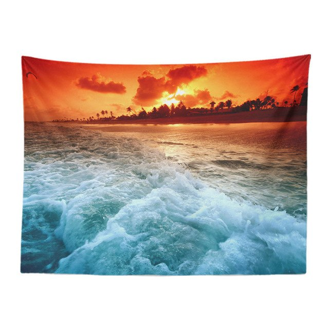 Orange Splash Sunset Tapestry