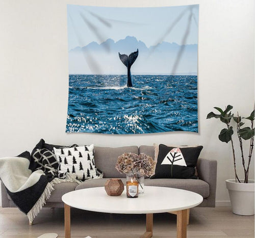 Diving Whale Tapestry