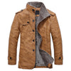 Standing Collar Leather Jacket - Warm Slim Fit - Inner Wool