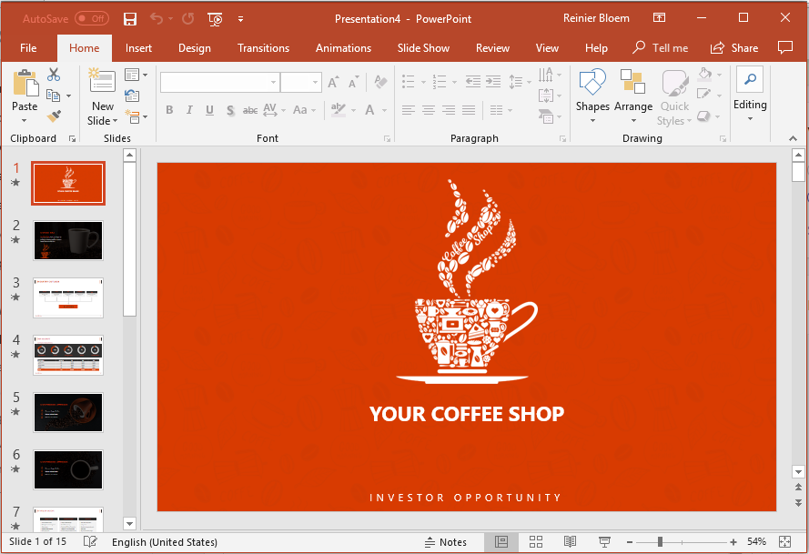 Coffee shop presentation template