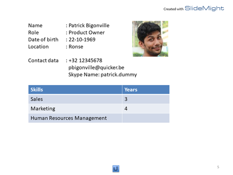 Member profile slide as generated by SlideMight
