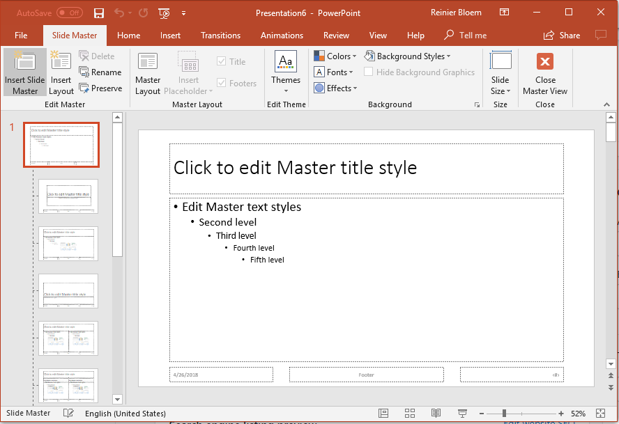 Powerpoint Slide Master screen