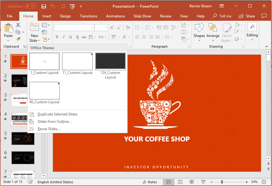Coffee shop template slides