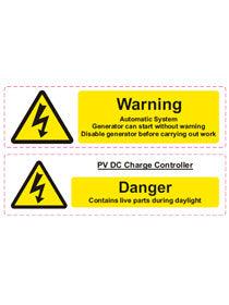 Battery Hazard label ( 160mm*44mm x2 ) - [The Power Store]