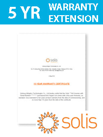 Solis Warranty Ext. of 5 years (Total 10yrs) Mini 4G Series