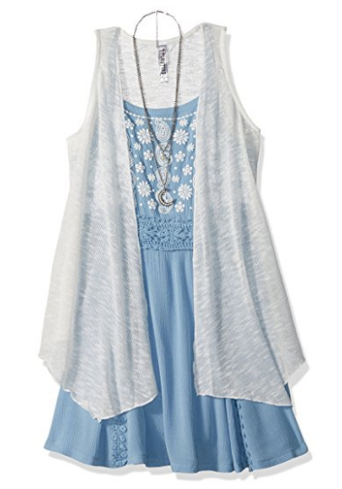 2 Pc. Solid Duster Over Chambray Tank Dress