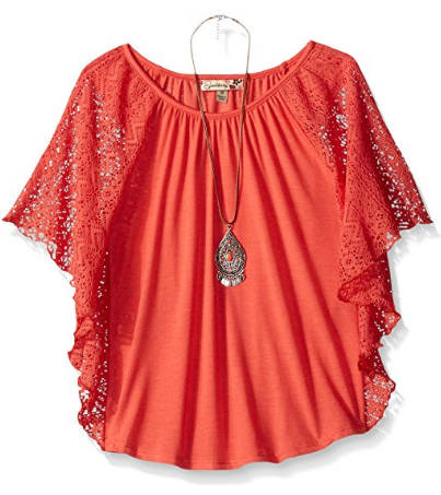 Speechless Big Girls' Batwing Slv Circle Top