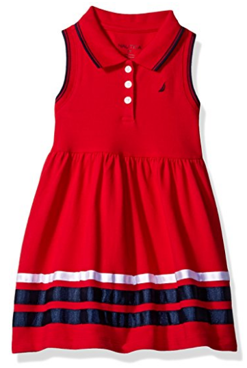 Sleeveless Pique Dress with Grosgrain Ribbon Trim Hem
