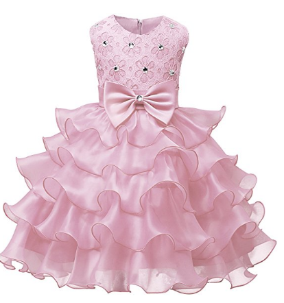 Kids Ruffles Lace Party Wedding Dresses