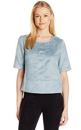 Faux Suede Seamed Boxy Top