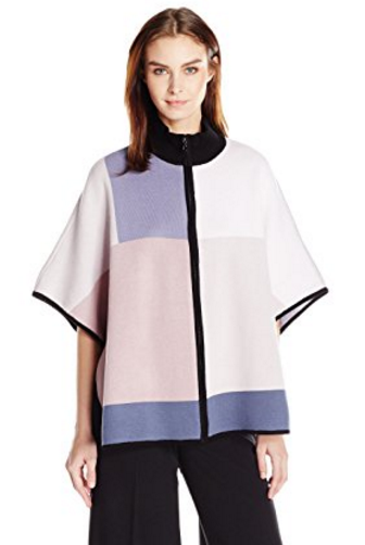 Knit Color Block Poncho