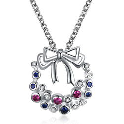 Zircon Christmas Bow Necklace
